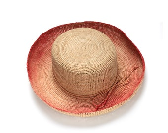 Wide brim red straw hat ,Straw hat , Straw hat for women , Summer hats , Sun hat , Beach hat, Boho chic hat , raffia hat