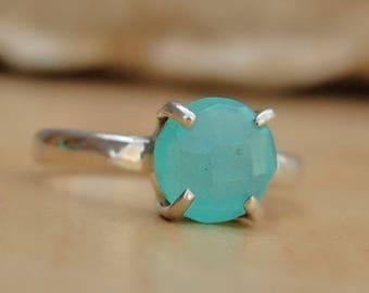 Chalcedony Ring, round aqua chalcedony sterling silver ring, chalcedony Solid silver ring Jewelry