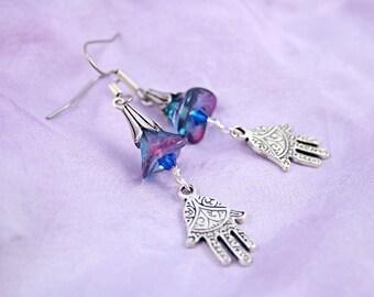 Blue River Bellflower, Purple and Blue, Hand of Fatima / Hamsa earrings