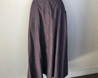 Vintage Faux Button Down Cotton Blue Gray Skirt Size M
