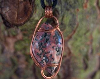 Earthy Ocean Jasper Wire Wrapped Pendant - Copper Wire Wrapped Stone Pendant - Stone Wire Wrap Pendant - Ocean Jasper Pendant