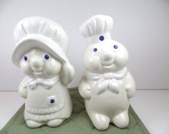 Vintage Pillsbury Doughboy and Girl Salt & Pepper Shaker Set - Pillsbury Doughboy -  Salt And Pepper - Shakers - Pillsbury - Doughboy
