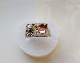 Steampunk Ring with vintage watch parts & Swarovski crystal Adjustable Size