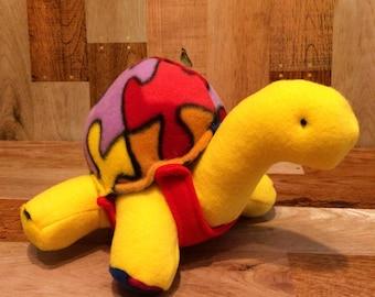 Stuffed turtle plush, yellow puzzle piece,multicolor turtle gift