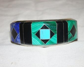 1-T Native American Stamped Sterling Bracelet