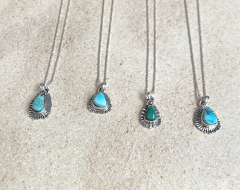 "Natural Turquoise pendant on 18"" Sterling silver chain"