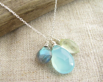 Three Stone Necklace, Labradorite, Blue Chalcedony and Prehnite Necklace