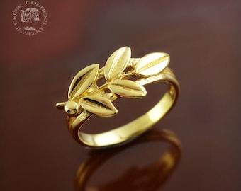 olive leaves ring, olive leaf ring, olive branch ring, olive leaf, olive leaves, greek ring, olive twig ring, leaves ring, leaf ring