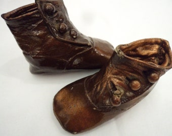 Vintage Antique Copper Dipped Baby Boots