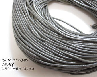 2mm Leather Cord, Leather Cording 2mm, Leather Bracelet Cord, Leather Necklace Cording Medium Gray, Gray Leather 12 feet LC0002 K17