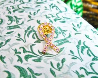 Pink Rhinestone Breast Cancer  Ribbon Lapel Pin