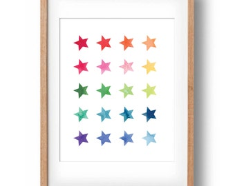 Colourful Rainbow of Watercolour Stars | Watercolour Print| Rainbow Star Print | Printable Art | New Baby Gift | INSTANT DOWNLOAD | 11x14
