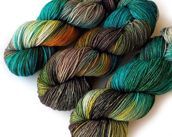 Hand Dyed Yarn Ultrafine Superwash 17 Micron Merino Fingering Sock Yarn, Dappled Glade