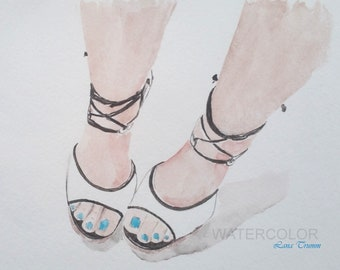 A woman feet in white shoes
