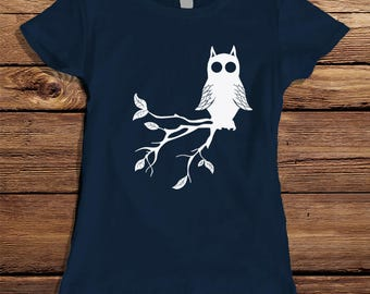 Owl Shirt For Women - Owl on Tree Branch Shirt - Cute Owl Tshirt For Women - Cute Owl Tree Branch Shirt - Women's Owl Tshirt Cute Owl Shirt