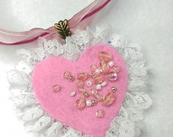 Necklace heart and Ribbon Roses