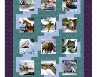 Panel Quilt, Focus Fabric, Quilt Pattern Instructions - Stepping Up by Kari Nichols for Mountainpeek Creations - 384 - DIY Pattern