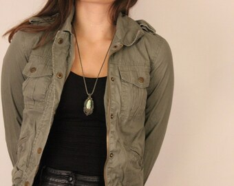 Cotton Summer Jacket, Army Green, Olive Coat, XS