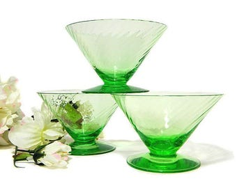Three Green Depression Glass Swirl Pattern Footed Sherbet Dishes