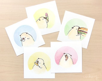 Treat Pugs Set of Prints - Pug Wall Art Set, Pug Decor, Cute Pug Art, Food Art for Kitchen Decor, Small Pug Paintings by Inkpug