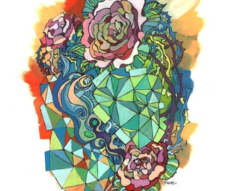 "Geometric Colorful Triangles Floral Illustration Print - ""Geometry and Roses"" Abstract Rose Art Painting"