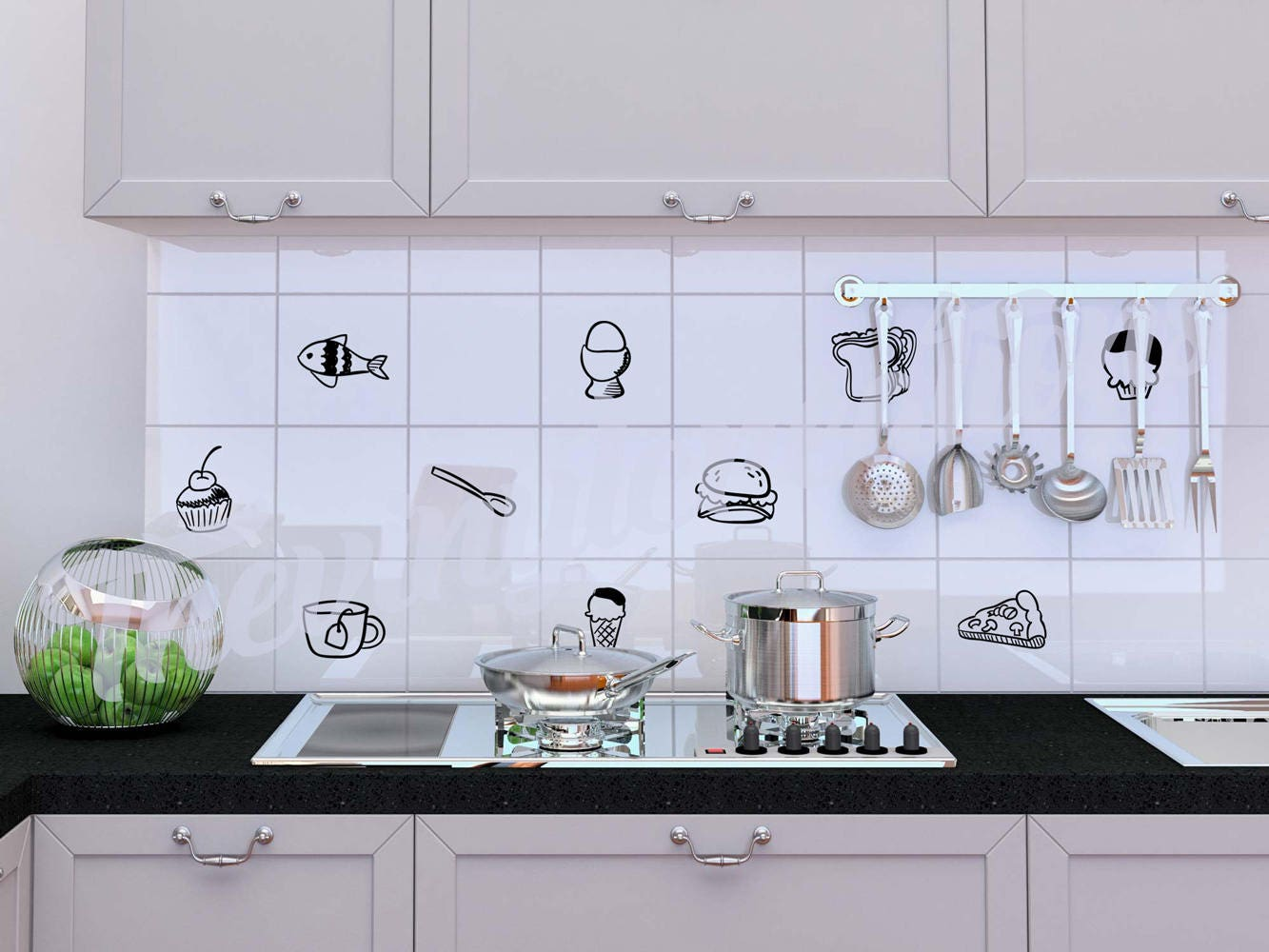 Variety Of Food Stickers For Tiles Kitchen Tiles Stickers