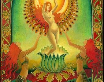 Mother Isis Summer Solstice Solar Goddess 5x7 Blank Card Psychedelic Sun Tarot Pagan Gypsy Goddess Art
