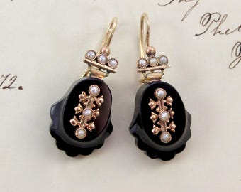 Antique Victorian Jet & Seed Pearl Earrings, 14k Carved Black Jet Mourning Earrings