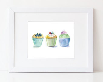 Cupcake Art - Watercolor Cupcakes - Food Art Print - Kitchen Art - Nursery Decor - Gift