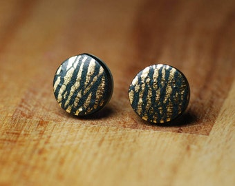 Gold Leaf Stud Earrings - Black Polymer Clay Earrings With Gold Detail - Jewellery for Sensitive Ears - Gift For Mothers Day