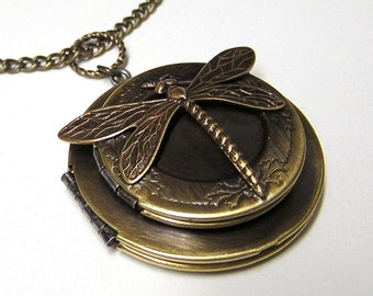 double DRAGONFLY LOCKET, Necklace Pendant, 1.5 inch