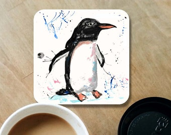 Penguin coaster, wooden coaster, penguin gift, table coaster, drink coaster, tile coaster, coasters, penguin kitchen