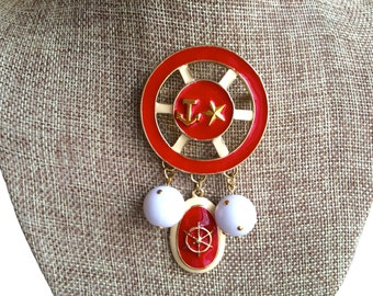 80s Vintage Huge Ship Wheel, Anchor Pin, Red and Cream Enamel Goldtone Nautical Pin Brooch