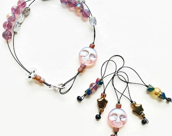 SHIMMER MOON knitting stitch markers and row counter bracelet. popular knitting accessory tool gifts. jewelry for knitters fiber crafters