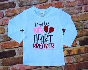 Little bitty heart breaker / girls glitter shirt / Valentine's Day shirt