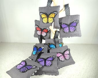 Butterfly lavender sachets. Hanging lavender bags. Perfumed Bag. Drawer sachets. Bath and beauty. Bridesmaid gift. Party favors