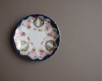 Antique Nippon dessert plates set of 4 Torri mark handpainted pastry plates romantic wedding decor wall plate set cobalt blue pink floral