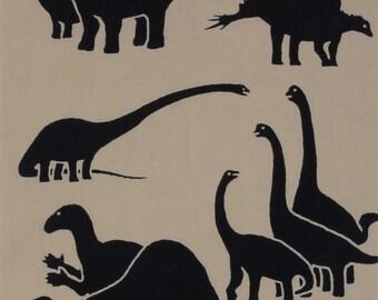 Dinosaur Motif Tenugui Japanese Fabric w/Free Insured Shipping
