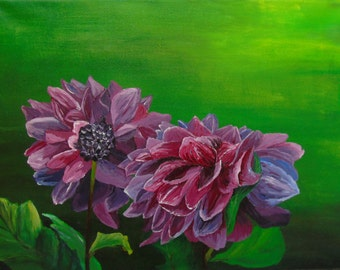 Original Acrylic Flower Painting, 12x16 Floral Painting of Dahlias on Canvas