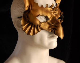 Gold ruffled Victorian owl leather mask