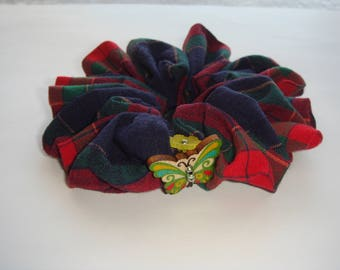 button pattern plaid fabric Butterfly hair scrunchie