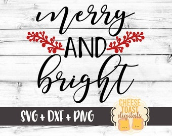 Merry and Bright Svg, Christmas SVG, Merry Svg, Laurel Svg, Svg Files, Winter Svg, DXF, Svg for Cricut, Svg for Silhouette