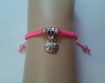 Cat bracelet - girls cat bracelet - girls bracelet - childrens bracelet - childrens jewelry - cat charm - neon bracelet - pink bracelet