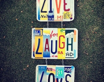 LIVE LAUGH LOVE. License Plate Art - Hippie Room Decor -Mothers Day Gift- For Her - License Plate - Dorm Room Decor