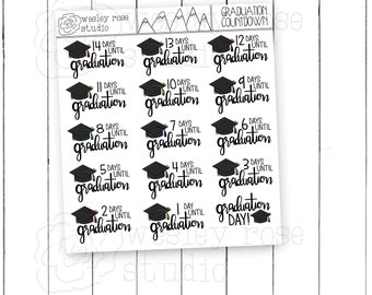 Graduation Countdown Hand Lettered HAnd Drawn Planner Stickers