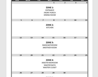 Zone Cleaning / Daily Schedule *Pdf* DIGITAL DOWNLOAD PRINTABLE - 14 pages total (not all pictured)
