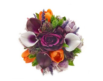 Stemple's Gatherings - Artificial Picasso and Plum Calla Lilies, Plum Roses,Orange Tulips,Lavender,Hops - In a vase or as a bouquet