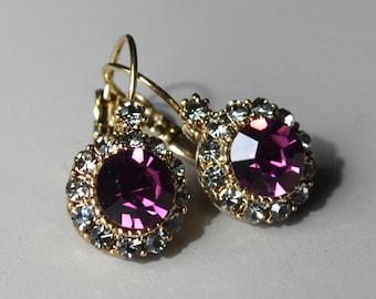 Dark purple crystal earrings