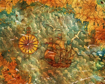 Old treasures map with ship and compass Printable art freehand illustration. Pirates of the Carribean. Pirate art. Instant download jpg file