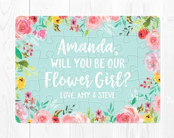 Flower Girl Puzzle Proposal Flower Girl Proposal Card Will You Be My Flower Girl Proposal Puzzle Mint Green Flower Girl Proposal Gift Cute